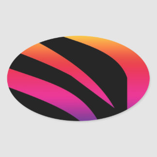 rainbow bright zebra print striped design oval sticker