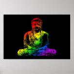 Rainbow Buddha Statue Poster