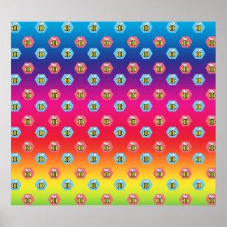Rainbow bumblebee pattern poster