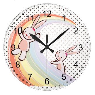 Rainbow Bunnies Wall Clocks