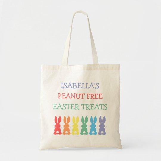 Rainbow Bunnies Food Allergy Personalised Easter Tote Bag