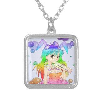Rainbow Bunny Anime Girl Silver Plated Necklace