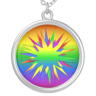 Rainbow Burst necklace, customize Silver Plated Necklace