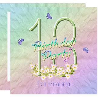 Rainbow Butterflies 13th Birthday Party Invitation