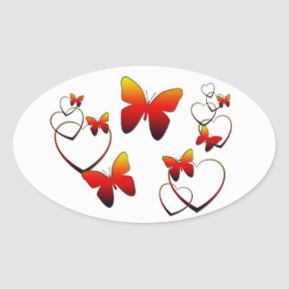 Rainbow butterflies and hearts oval sticker