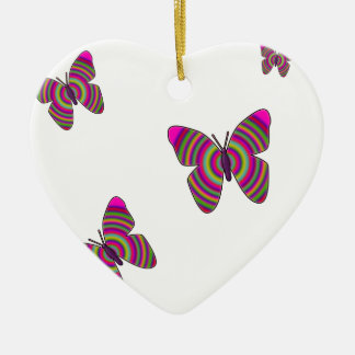 Rainbow Butterflies Ceramic Heart Decoration