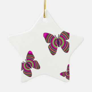 Rainbow Butterflies Ceramic Star Decoration
