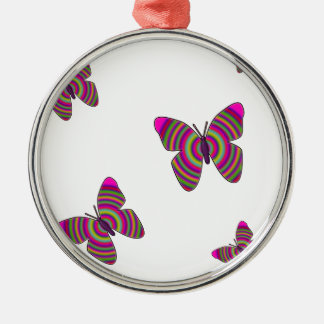 Rainbow Butterflies Silver-Colored Round Decoration