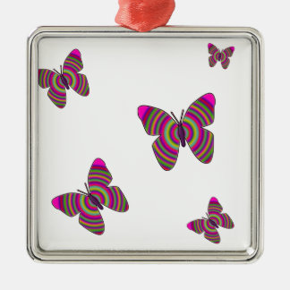 Rainbow Butterflies Silver-Colored Square Decoration