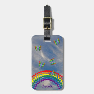 Rainbow Butterflies Sky | Girly Personalized Bag Tag