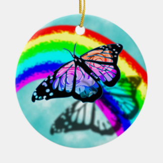 Rainbow Butterfly Christmas Ornament