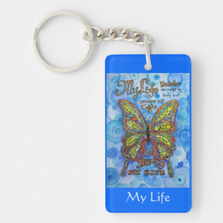 Rainbow Butterfly Diabetes Keychain (2 Sided)