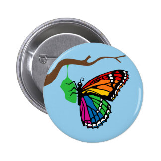 Rainbow Butterfly Emerging From Chrysalis 6 Cm Round Badge