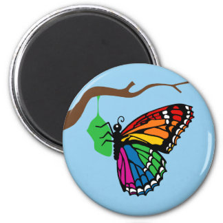 Rainbow Butterfly Emerging From Chrysalis 6 Cm Round Magnet