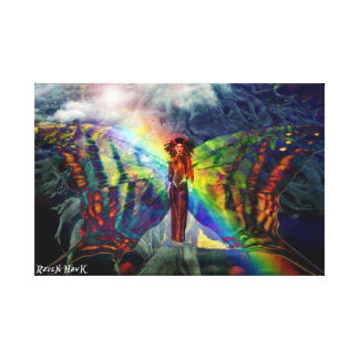 Rainbow Butterfly Fairy Stretched Canvas Print