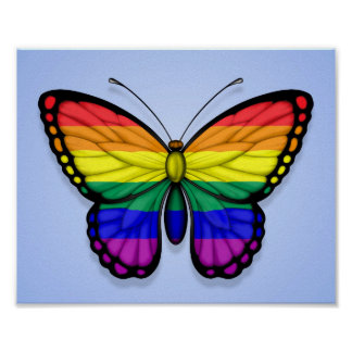 Rainbow Butterfly Gay Pride Flag on Blue Poster