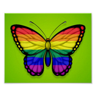 Rainbow Butterfly Gay Pride Flag on Green Print