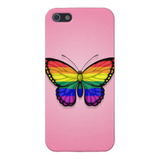 Rainbow Butterfly Gay Pride Flag on Pink Cases For iPhone 5