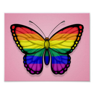 Rainbow Butterfly Gay Pride Flag on Pink Posters