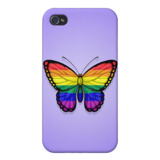 Rainbow Butterfly Gay Pride Flag on Purple Case For iPhone 4