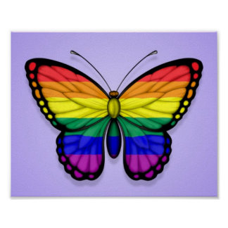 Rainbow Butterfly Gay Pride Flag on Purple Posters