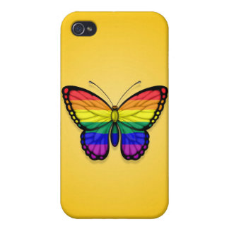 Rainbow Butterfly Gay Pride Flag on Yellow Cover For iPhone 4