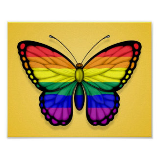 Rainbow Butterfly Gay Pride Flag on Yellow Print
