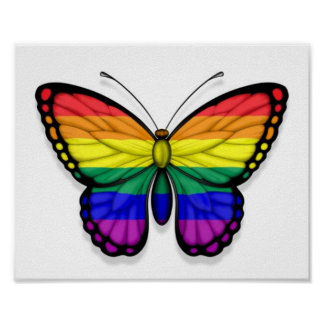 Rainbow Butterfly Gay Pride Flag Posters