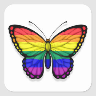 Rainbow Butterfly Gay Pride Flag Square Stickers
