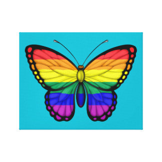 Rainbow Butterfly Gay Pride Flag Stretched Canvas Print