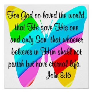 RAINBOW BUTTERFLY JOHN 3:16 DESIGN