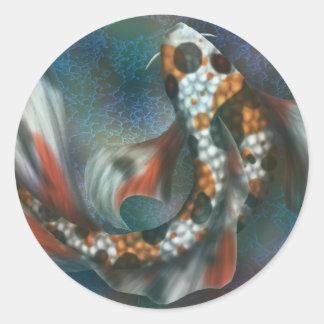Rainbow Butterfly Koi Round Sticker
