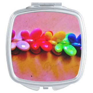 Rainbow Butterfly Necklace Compact Mirror