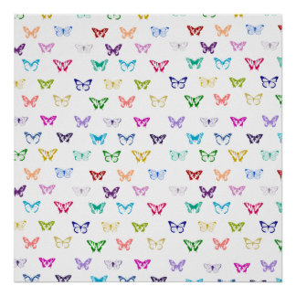 Rainbow butterfly pattern posters