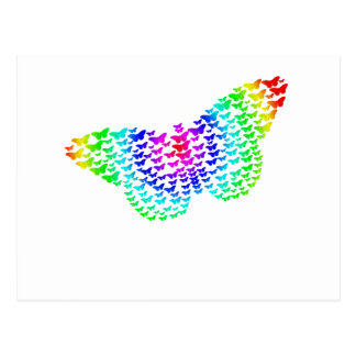 Rainbow Butterfly Silhouette Post Cards