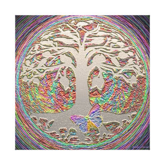 Rainbow Butterfly Tree Canvas Prints