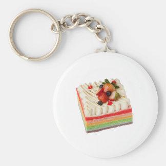Rainbow cake basic round button key ring
