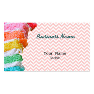Rainbow Cake Chevron Pink Double-Sided Standard Business Cards (Pack Of 100)