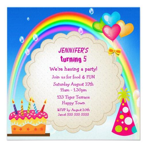 Rainbow & Cake Girl's Cute Birthday Party Invites