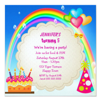 "Rainbow & Cake Girl's Cute Birthday Party Invites 5.25"" Square Invitation Card"