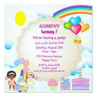 "Rainbow & Cake Girl's Cute Birthday Party Invites 5.25"" Square Invitation Card"