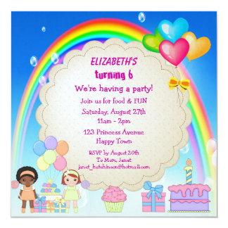 Rainbow & Cake Girl's Cute Birthday Party Invites
