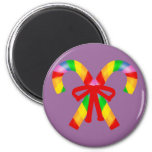 Rainbow Candy Canes 6 Cm Round Magnet
