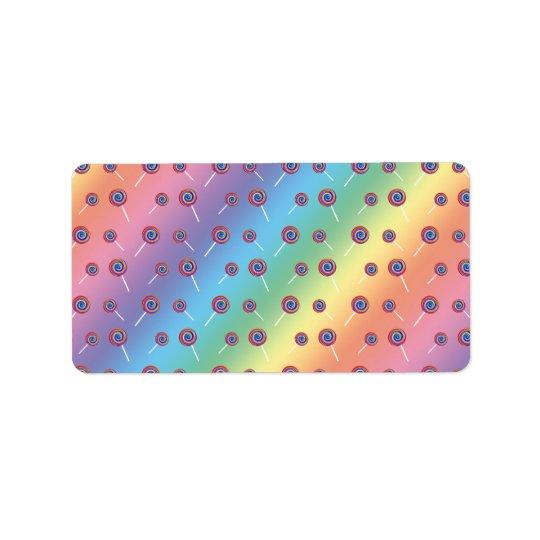 rainbow candy pattern label