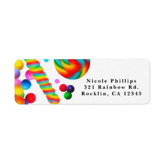 Rainbow Candy Sweet Birthday Party Invitation Return Address Label