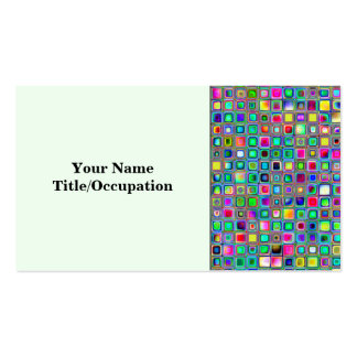 Rainbow Carnival Textured Mosaic Tiles Pattern Business Card Templates