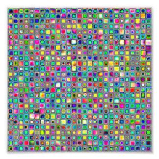 Rainbow 'Carnival' Textured Mosaic Tiles Pattern Photo Print