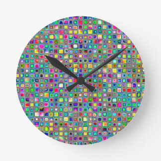 Rainbow 'Carnival' Textured Mosaic Tiles Pattern Round Clock