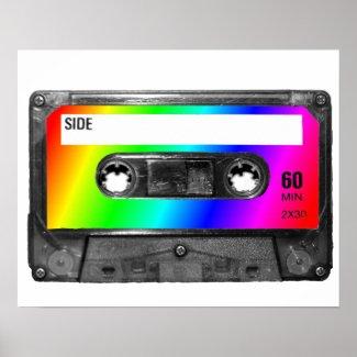 Rainbow Cassette Tape Poster