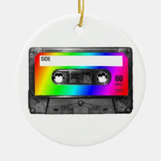 Rainbow Cassette Tape Round Ceramic Decoration